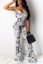 Sexy Sling High Waist Newspaper Printed White Jumpsuit