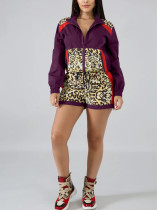 Casual Fashion Sports Leopard Stitching Purple Two-Piece Suit