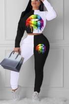 Fashion Digital Print Lips Long Sleeve White Two-Piece Suit