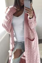 Fashion Casual Loose Pink Solid Rib Sweater