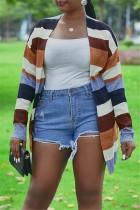 Women Fashion Autumn And Winter Striped Cardigan Multicolor Coat