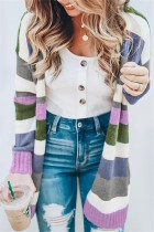 Women Fashion Autumn And Winter Striped Cardigan Purple Coat