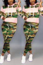 Fashion Camouflage Print Pink Two-Piece Suit