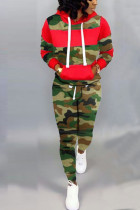Fashion Camouflage Print Red Two-Piece Suit