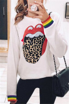 Fashion Casual Round Neck Print Big Mouth Sweater