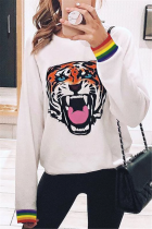 Fashion Casual Round Neck Print Tiger Head Sweater