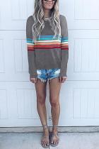 Fashion Colorful Striped Long Sleeve Gray T-Shirt