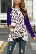 Fashion Leopard Twist Knotted Long Sleeve Purple T-Shirt Tops