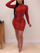 Sexy Leopard Print Long Sleeve Red Dress