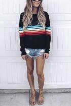 Fashion Colorful Striped Long Sleeve Black T-Shirt