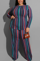 Fashion Stripe Print Knitting Large Size Green Two-Piece Suit