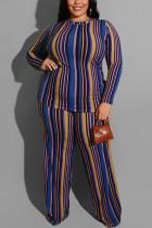 Fashion Stripe Print Knitting Large Size Blue Two-Piece Suit