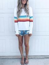 Fashion Colorful Striped Long Sleeve White T-Shirt