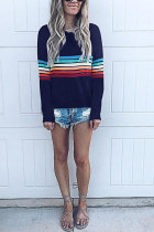 Fashion Colorful Striped Long Sleeve Dark Blue T-Shirt