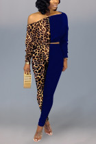 Sexy Leopard Print Off Shoulder Dark Blue Two-Piece Suit