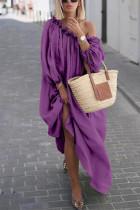 Casual Solid Color One Shoulder Loose Purple Dress
