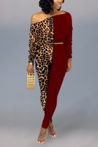 Sexy Leopard Print Off Shoulder Wine Red Two-Piece Suit