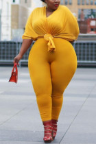 Casual V-Neck Solid Color Large Size Yellow Two-Piece Suit