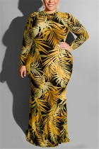 Large Size Tight Sexy Leaf Print Yellow Dress