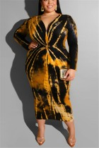 Large Size Tie Dyed V-Neck Tight Sexy Yellow Dress