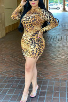 Fashion Casual Hooded Collar Yellow Leopard Print Two Pieces