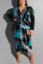 Large Size Tie Dyed V-Neck Tight Sexy Blue Dress