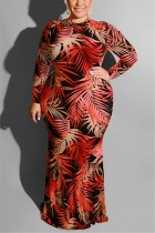 Large Size Tight Sexy Leaf Print Wine Red Dress