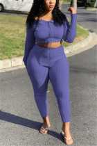 Fashion Casual Boat Neck Purple Long Sleeve Two-Piece