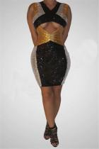 Fashion Sexy Sequin V-Neck Black Sleeveless Dress