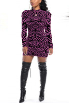 Fashion Casual O Neck Irregular Stripes Long Sleeve Purple Dress(Without Belt)