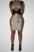 Fashion Sexy Sequin V-Neck Silver Sleeveless Dress
