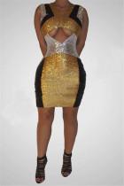 Fashion Sexy Sequin V-Neck Gold Sleeveless Dress