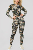 Fashion Casual Hooded Collar Camouflage Print Two Pieces