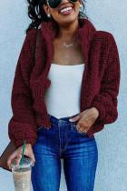 Casual Outdoor Lapel Zipper Fleece Wine Red Coat