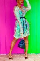 Ladies Fashion Long Sleeve Separate Belt Sequin Dress