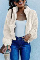 Casual Outdoor Lapel Zipper Fleece White Coat