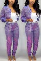 Fashion Casual Purple Long-Sleeved Jacket Two-Piece Suit
