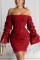 Fashion Casual Puff Sleeve Plisse Red Solid Dress