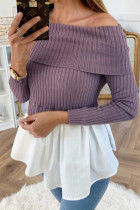 Sexy One Shoulder Stitching Long Sleeve Purple Top