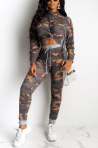 Fashion Casual Brown Camouflage Print Two Pieces
