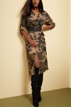 Fashion Casual Lapel Camouflage Maxi Dress (Without Black Belt)