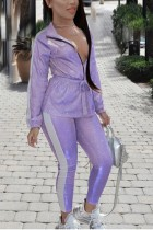 Fashion Hot Stamping Patchwork Long Sleeve Purple Two Piece Suit