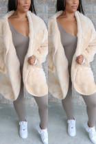 Fashion Casual Hooded Collar White Solid Velvet Coats