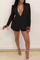 Fashion Sexy Deep V Split Tassel Black Two-Piece Suit
