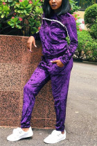 Fashion Casual Purple Long Sleeve Two-Piece Suit