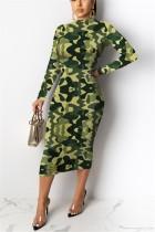 Fashion Long Sleeve Printed Green Dress