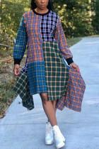 Fashion Casual Loose Irregular Multicolor Tartan Patchwork Dress