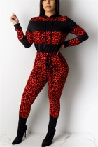Fashion Casual Leopard Stitching Red Hooded Two-Piece Suit