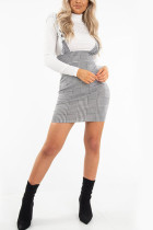 Fashion Casual Gray Houndstooth Print Cami Dress