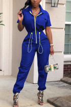 Fashion Casual Shirred Waist Blue Solid Jumpsuits